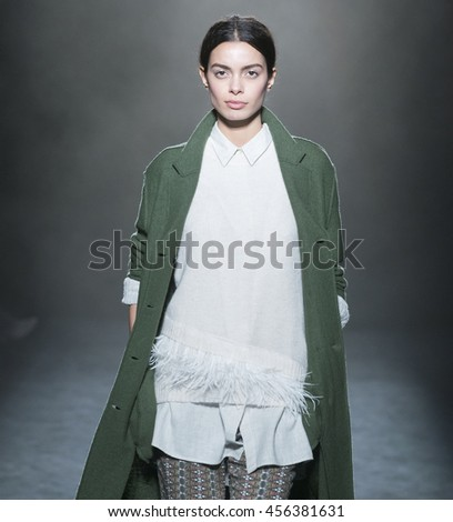 BARCELONA - FEBRUARY 04: a model walks on the Yerse catwalk during the 080 Barcelona Fashion runway Fall/Winter 2016 on February 04, 2016 in Barcelona, Spain.  - stock photo