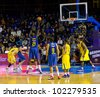 BARCELONA - FEBRUARY 29: Boniface Ndong shots a point during the Euroleague basketball match between FC Barcelona and Maccabi Tel Aviv, final score 70-67, on February 29, 2012, in Barcelona, Spain. - stock photo