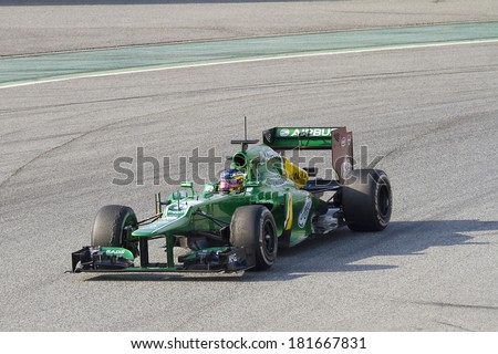 BARCELONA - FEBRUARY 24: Charles Pic racing with his new Caterham CT03 at Formula One Teams Test Days at Catalunya circuit on February 24, 2013 in Montmelo, Barcelona, Spain.