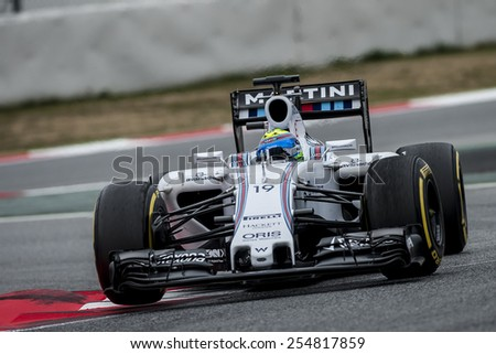 BARCELONA - FEBRUARY 21: Felipe Massa of Williams at third day of Formula One Test Days at Catalunya Circuit on February 21, 2015 in Barcelona, Spain. - stock photo