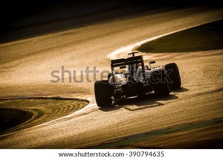 BARCELONA - FEBRUARY 23: Fernando Alonso of McLaren-Honda F1 Team at Formula One Test Days at Catalunya circuit on February 23, 2016 in Barcelona, Spain. - stock photo