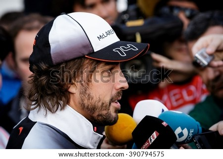 BARCELONA - FEBRUARY 23: Fernando Alonso of McLaren-Honda F1 Team talks to the media at Formula One Test Days at Catalunya circuit on February 23, 2016 in Barcelona, Spain. - stock photo