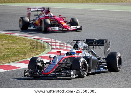 BARCELONA - FEBRUARY 22: Fernando Alonso racing with his McLaren Honda at Formula One Test Days at Catalunya circuit, on February 22, 2015, in Barcelona, Spain. - stock photo