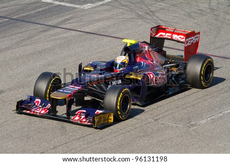 BARCELONA - FEBRUARY 21: Jean Eric Vergne of Toro Rosso F1 team racing during Formula One Teams Test Days at Catalunya circuit on February 21, 2012 in Barcelona, Spain.