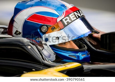 BARCELONA - FEBRUARY 22:  Jolyon Palmer of Renault F1 Team at Formula One Test Days at Catalunya circuit on February 22, 2016 in Barcelona, Spain. - stock photo