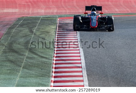 BARCELONA - FEBRUARY 28: Kevin Magnussen of McLaren Honda at third day of Formula One Test Days at Catalunya Circuit on February 28, 2015 in Barcelona, Spain. - stock photo