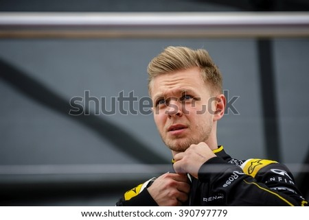 BARCELONA - FEBRUARY 23: Kevin Magnussen of Renault F1 Team at Formula One Test Days at Catalunya circuit on February 23, 2016 in Barcelona, Spain. - stock photo