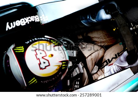 BARCELONA - FEBRUARY 26: Lewis Hamilton of Mercedes at first day of Formula One Test Days at Catalunya Circuit on February 26, 2015 in Barcelona, Spain. - stock photo
