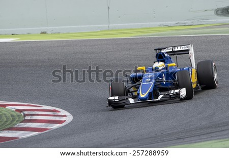 BARCELONA - FEBRUARY 28: MArcus Ericsson of Sauber at third day of Formula One Test Days at Catalunya Circuit on February 28, 2015 in Barcelona, Spain. - stock photo