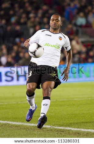 BARCELONA - FEBRUARY 2: Miguel Brito in action during the Spanish Cup match between FC Barcelona and Valencia CF, final score 2-0, on February 2, 2012, in Camp Nou stadium, Barcelona, Spain.