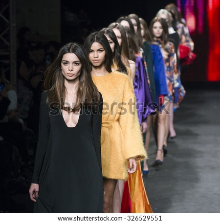 BARCELONA - FEBRUARY 04: models walking on the Menchen Tomas catwalk during the 080 Barcelona Fashion runway Fall/Winter 2015 on February 04, 2015 in Barcelona, Spain.  - stock photo