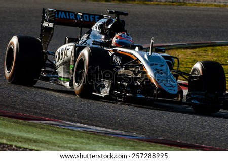 BARCELONA - FEBRUARY 27: Nico Hulkneberg of Force India at second day of Formula One Test Days at Catalunya Circuit on February 27, 2015 in Barcelona, Spain. - stock photo