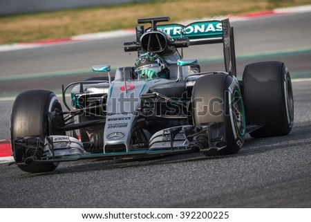 BARCELONA - FEBRUARY 24: Nico Rosberg of Mercedes AMG F1 Team at Formula One Test Days at Catalunya circuit on February 24, 2016 in Barcelona, Spain. - stock photo