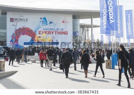 BARCELONA - FEBRUARY 24: outdoor entrance of Mobile World Congress 2016 on February 24, 2016, Barcelona, Spain.  - stock photo