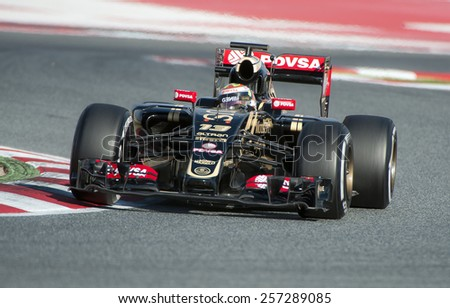 BARCELONA - FEBRUARY 27: Pastor Maldonado of Lotus at second day of Formula One Test Days at Catalunya Circuit on February 27, 2015 in Barcelona, Spain. - stock photo