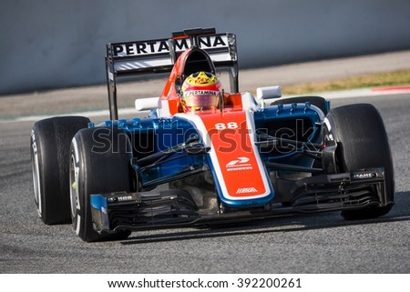BARCELONA - FEBRUARY 24: Rio Haryanto of Manor F1 Team at Formula One Test Days at Catalunya circuit on February 24, 2016 in Barcelona, Spain. - stock photo