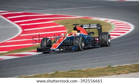 BARCELONA - FEBRUARY 25: Rio Haryanto of Manor F1 Team at Formula One Test Days at Catalunya circuit on February 25, 2016 in Barcelona, Spain. - stock photo