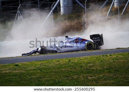 BARCELONA - FEBRUARY 19: Susie Wolff of Williams Martini Racing F1 team collides with Sauber's Felipe Nasr at Formula One Test Days at Catalunya circuit on February 19, 2015 in Barcelona, Spain. - stock photo