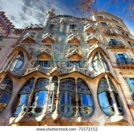 BARCELONA - FEBRUARY 18: The facade of the house Casa Battlo (also could the house of bones) designed  by Antoni Gaudi­ with his famous expressionistic style on February 18, 2011 Barcelona, Spain - stock photo