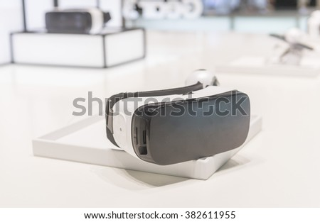 BARCELONA - FEBRUARY 25: the new Samsung Gear VR a glasses mobile virtual reality device on the stand of the Mobile World Congress 2016 on February 25, 2016, Barcelona, Spain. - stock photo