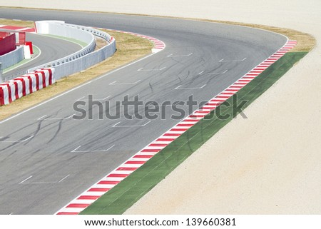 BARCELONA - FEBRUARY 24:  View of a curve of Circuit the Catalunya during Free Test Days, on February 24, 2012, in Barcelona, Spain. - stock photo