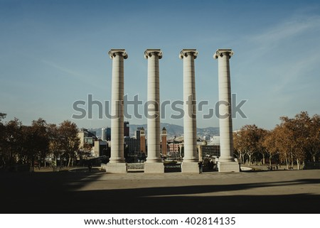 Barcelona four columns next to National Museum,spain - stock photo