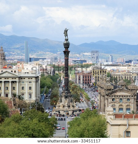 Barcelona from above,  monument to christopher columbus, spain - stock photo