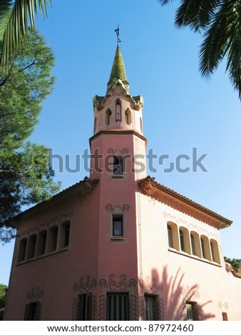 Barcelona: Gaudi house and museum at Parc Guell, the famous and beautiful park designed by Antoni Gaudi, one of the highlights of the city - stock photo