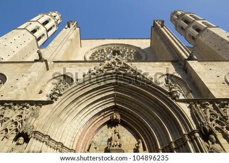 Barcelona - gothic cathedral Santa Maria del mar. Catalonia, Spain. - stock photo