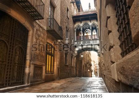 Barcelona Gothic quarter, Carrer del Bisbe - stock photo