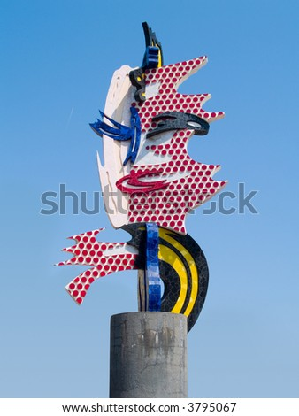 Barcelona Head - A sculpture by Roy Lichtenstein in Barcelona - stock photo