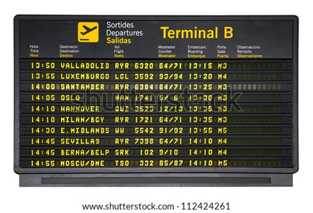 Barcelona international airport departures board  isolated on white - stock photo