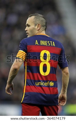 BARCELONA - JAN, 2: Andres Iniesta of FC Barcelona during a Spanish League match against RCD Espanyol at the Power8 stadium on January 2, 2016 in Barcelona, Spain - stock photo