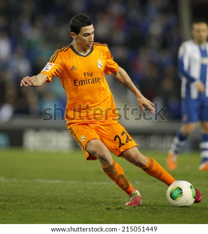 BARCELONA - JAN, 21: Angel Di Maria of Real Madrid during the Spanish Kings Cup match between Espanyol and Real Madrid at the Estadi Cornella on January 21, 2014 in Barcelona, Spain - stock photo