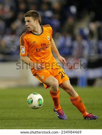 BARCELONA - JAN, 21: Asier Illarramendi of Real Madrid during the Spanish Kings Cup match between Espanyol and Real Madrid at the Estadi Cornella on January 21, 2014 in Barcelona, Spain - stock photo