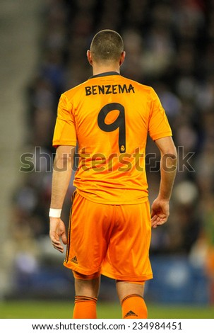 BARCELONA - JAN, 21: Back of Karim Benzema of Real Madrid during the Spanish Kings Cup match between Espanyol and Real Madrid at the Estadi Cornella on January 21, 2014 in Barcelona, Spain - stock photo