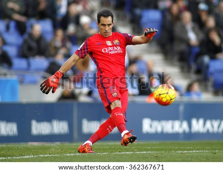 BARCELONA - JAN, 2: Claudio Bravo of FC Barcelona during a Spanish League match against RCD Espanyol at the Power8 stadium on January 2, 2016 in Barcelona, Spain - stock photo