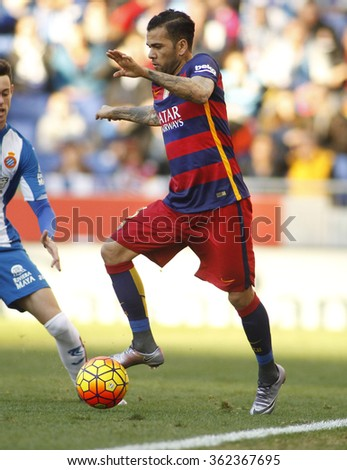 BARCELONA - JAN, 2: Dani Alves of FC Barcelona during a Spanish League match against RCD Espanyol at the Power8 stadium on January 2, 2016 in Barcelona, Spain - stock photo