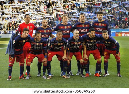 BARCELONA - JAN, 2: FC Barcelona lineup before a Spanish League match against RCD Espanyol at the Power8 stadium on January 2, 2016 in Barcelona, Spain - stock photo