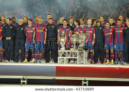 BARCELONA - JAN 2: FC Barcelona players at the party with the 6 trophies of the year at the Nou Camp Stadium on January 2, 2010 in Barcelona, Spain. - stock photo