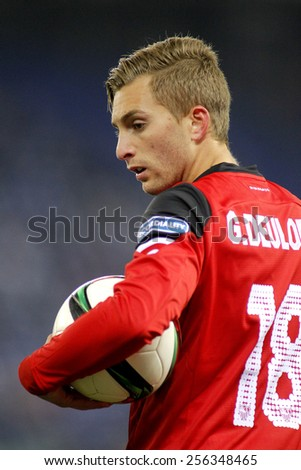 BARCELONA - JAN, 22: Gerard Deulofeu of Sevilla FC during spanish League match against RCD Espanyol at the Estadi Cornella on January 22, 2015 in Barcelona, Spain - stock photo