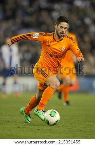 BARCELONA - JAN, 21: Isco of Real Madrid during the Spanish Kings Cup match between Espanyol and Real Madrid at the Estadi Cornella on January 21, 2014 in Barcelona, Spain - stock photo
