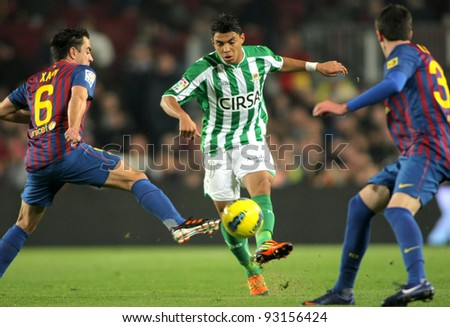 BARCELONA - JAN 15: Jeff Montero of Real Betis in action during the Spanish league match against Fc Barcelona at the Camp Nou stadium on January 15, 2012 in Barcelona, Spain - stock photo