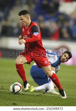 BARCELONA - JAN, 22: Kevin Gameiro of Sevilla FC during spanish League match against RCD Espanyol at the Estadi Cornella on January 22, 2015 in Barcelona, Spain - stock photo