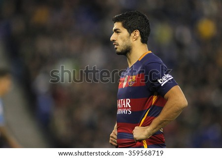 BARCELONA - JAN, 2: Luis Suarez of FC Barcelona during a Spanish League match against RCD Espanyol at the Power8 stadium on January 2, 2016 in Barcelona, Spain - stock photo
