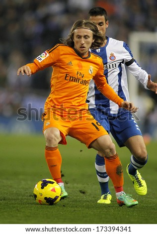 BARCELONA - JAN, 12: Luka Modric of Real Madrid during the Spanish League match between Espanyol and Real Madrid at the Estadi Cornella on January 12, 2014 in Barcelona, Spain - stock photo