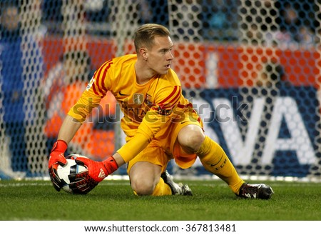 BARCELONA - JAN, 13: Marc-Andre ter Stegen of FC Barcelona during a Spanish Kings Cup match against RCD Espanyol at the Power8 stadium on January 13, 2016 in Barcelona, Spain - stock photo