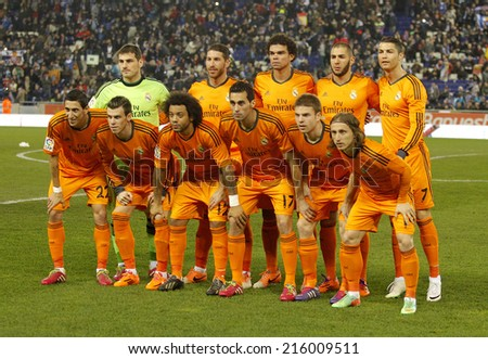 BARCELONA - JAN, 21: Real Madrid lineup before the Spanish Kings Cup match between Espanyol and Real Madrid at the Estadi Cornella on January 21, 2014 in Barcelona, Spain - stock photo