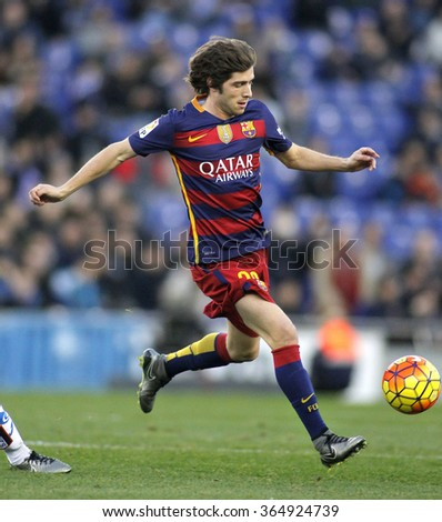 BARCELONA - JAN, 2: Sergi Roberto of FC Barcelona during a Spanish League match against RCD Espanyol at the Power8 stadium on January 2, 2016 in Barcelona, Spain - stock photo