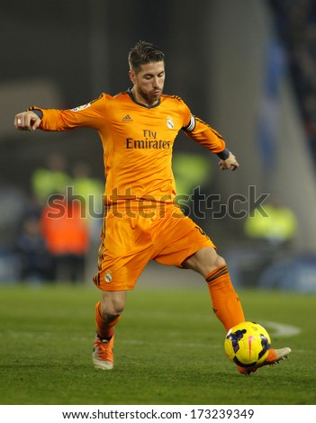 BARCELONA - JAN, 12: Sergio Ramos of Real Madrid during the Spanish League match between Espanyol and Real Madrid at the Estadi Cornella on January 12, 2014 in Barcelona, Spain - stock photo